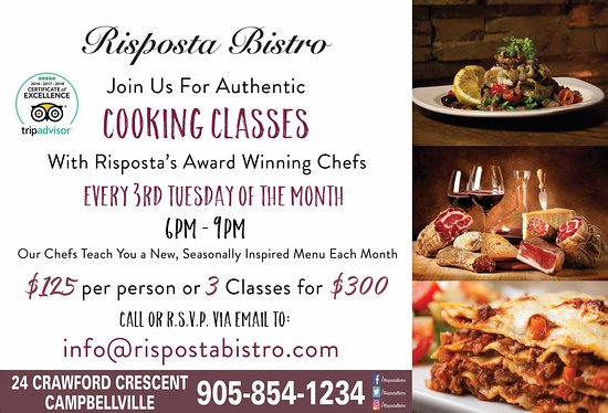 Risposta Bistro: Join our Chefs for our Monthly Cooking Classes.