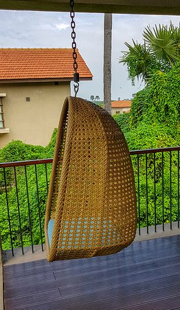 Hanging chair in the balcony