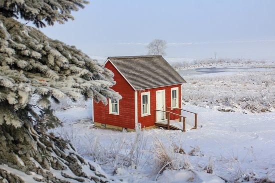 Elk Horn, IA: The Jens Dixen Cabin on a frosty morning.