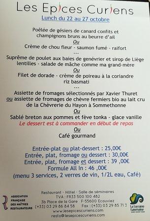 Ecouviez, France : Menu de la semaine