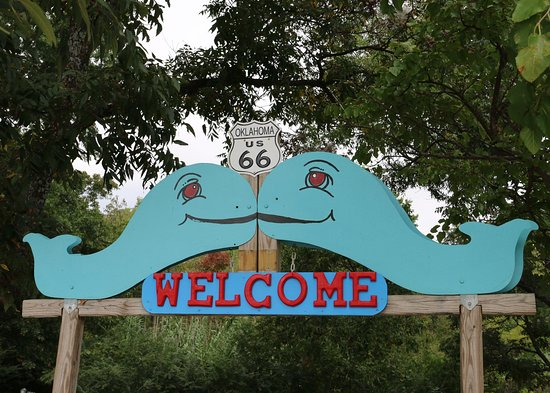 Blue Whale of Catoosa: The Blue Whale welcome sign.