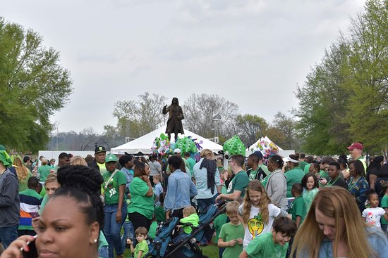Oglethorpe Statue at the Augusta Common during the St. Patrick's Day Celebration.
