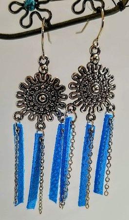 Mountain Grove, MO: Blue Leather Fringe w/Silver Chain Earrings $8.00 www.jasperartisanjewelry.com