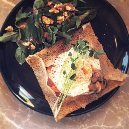 """ The works "" ham cheese mushroom n' an egg galette"