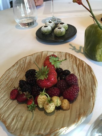 Birregurra, Australia: Summer berries (foreground)  Rhubarb and pistachio, blood and preserved blackberry rounds (background)