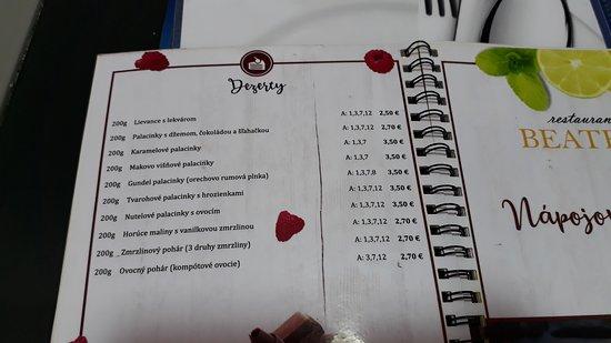 Velky Meder, Σλοβακία: jídelní lístek
