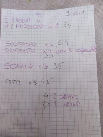 Bar Trattoria AL Guanaco: il conto
