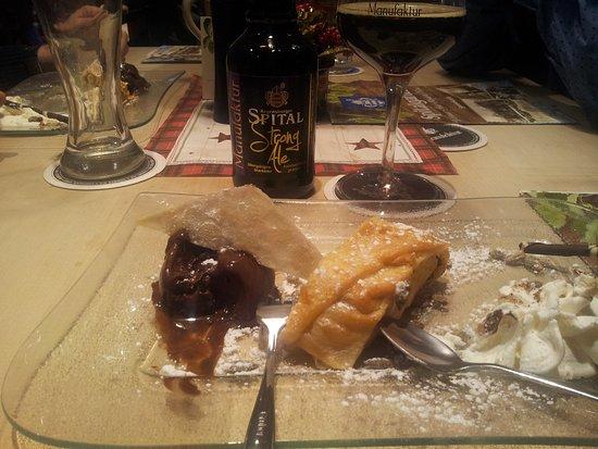 Spitalgarten: Apfel Strudel with Chocolate Ice Cream and Spital Beer!