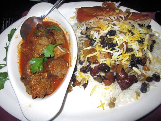 Hatboro, PA: Addas Polo with Lamb Shank (basmati rice mixed with lentils, raisins, dates and slivered almonds; served with a portion of lamb shank or ground beef)