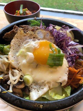 Priory Park Cafe: Bibimbap (mix of rice, veg, beef, fried egg and chilli sauce)