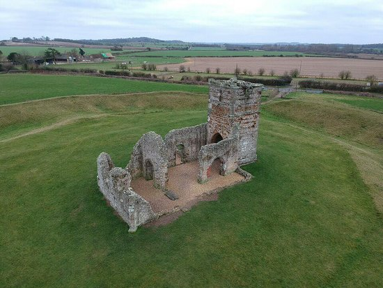 Cranborne, UK: Aerial view of church and earthworks