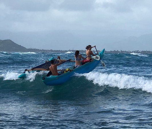 We Go! Island Canoe: Our teens wave surfing with our guide, David.  (Adventurous but not dangerous)