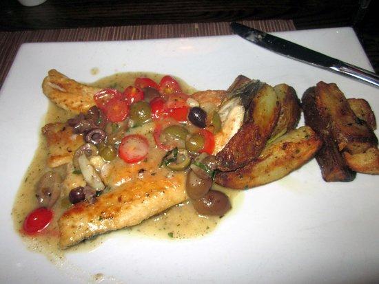 Trevose, PA: Bronzino Aquapazza (with tomato, olives & capers) & roasted potatoes