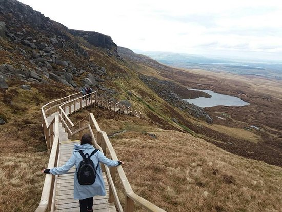 Cuilcagh Boardwalk Trail: View on the walk back down