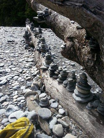 West Coast Region, New Zealand: Multiple inukshuks