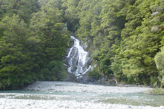 West Coast Region, New Zealand: Across to the falls