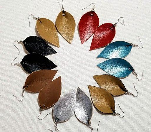 Mountain Grove, MO: Metallic And Brown Faux Leaf Leather Fashion Earrings $8.00 each www.jasperartianjewelry.com