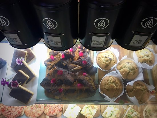 The Landing Cafe: Tr our Blueberry Muffins & Caramel Fudge Brownie.