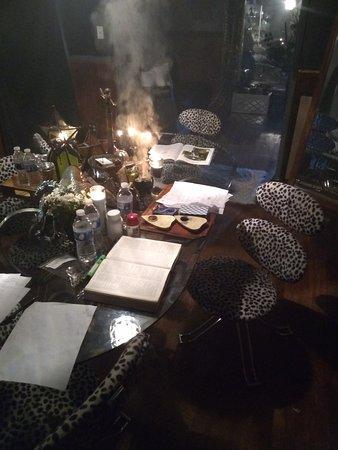 Cassadaga Raven Star Psychic Witch glass table.