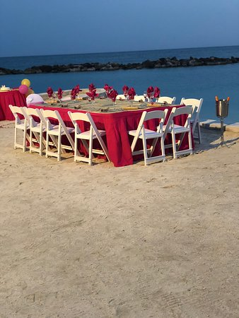 Family table for Queen's Birthday Celebration on the beach