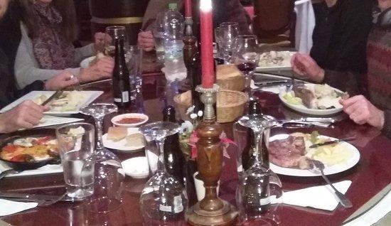 Zerda: Visible in the photo: seafood paella, whole sea bass, steak, very good harissa