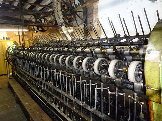 Uffculme, UK: looms and spinning machines powered by belts