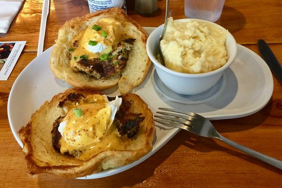 Crab Cakes Eggs Benedict - with cheesy grits - to die for!!!!
