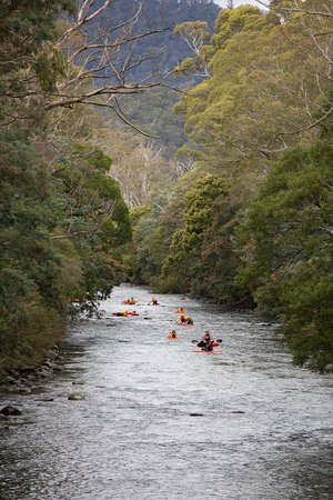 River Sledding on the Meander River, Tasmania.  The Meander Valley region is located in the heart of Northern Tasmania. The town of Meander itself is located only a 50 minute drive from both Launceston and Devonport and is surrounded by well-known mountain ranges, Quamby Bluff and Mother Cummings Peak with the Greater Western Tiers beyond.