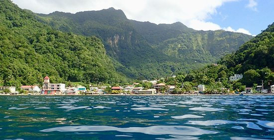 Soufriere from the sea! Go Kayaking, open water swimming, freediving, or out with a fisherman to get this view.