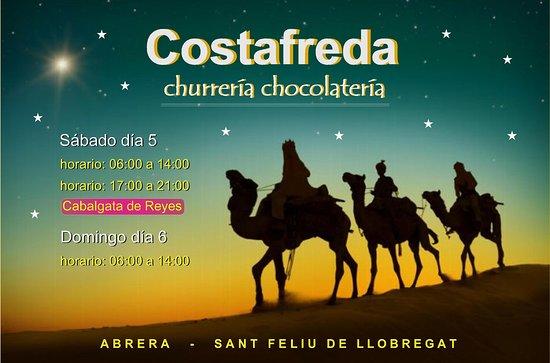 Abrera, Spain: Churrería Costafreda tendrá horario especial el sábado 5 de enero para acompañar la llegada de los Reyes Magos de Oriente. Sábado y Domingo en su horario habitual y sábado tarde de 17 a 21 H.