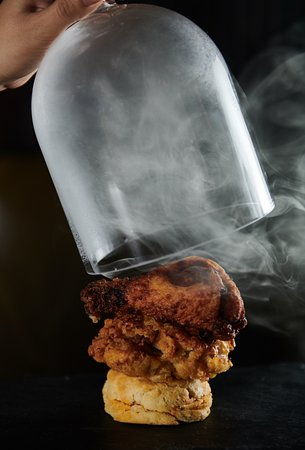 Bourbon Smoked Fried Chicken Under Glass