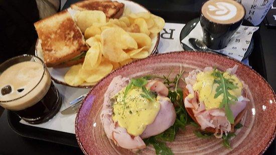 Eggs benedict  Sandwich chiken &coffe