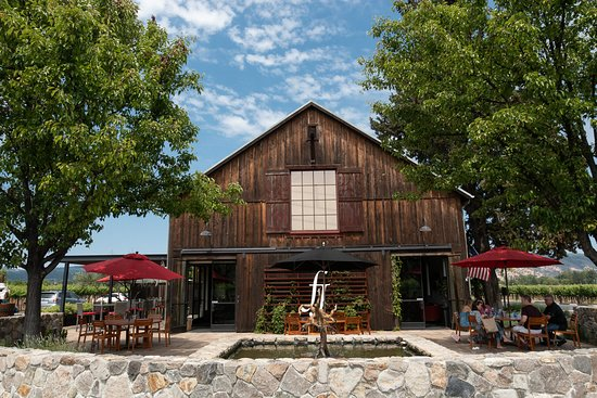 Rutherford, CA: The hospitality center is housed in an old converted redwood barn built in the 1920s.