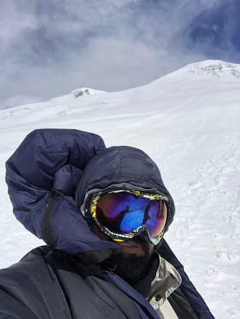Just before the summit of mount Elbrus