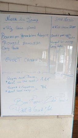 Bourg-Murat, เกาะเรอูนียง: Le menu du 29/11/18. On ne repart pas avec la faim !!!