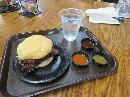 Dayton, VA: Beef brisket sandwich and different sauces.