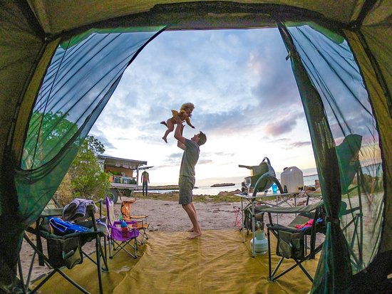 Hamelin Pool, Австралия: Tent views are the best views!! There's nothing like waking up to the belly giggles from your babies as dad keeps them happy 'doing the early shift' with our early risers... It's the best start to another day of adventure 👌😁.