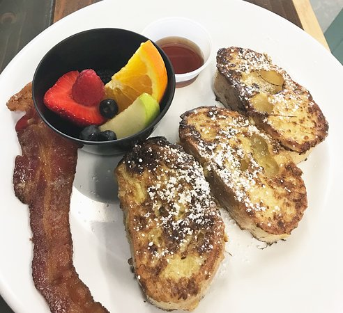 French Toast with Fruit & Bacon - Brunch Special every weekend!