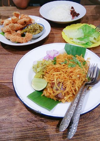 Stir fried Khao Soi and Crispy Pork with Green Chilies