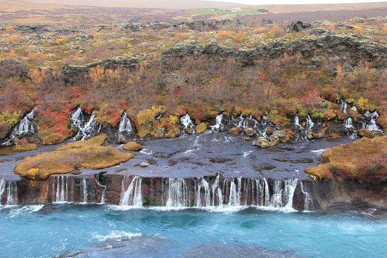 Husafell, Islândia: Hraunfossar im Oktober