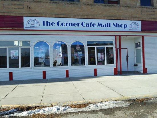 The Corner Cafe Malt Shop in Roundup, Montana.