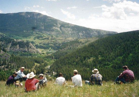 Choteau, MT: Riders taking a lunch break on Sun Butte.