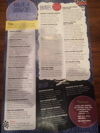 Great menu