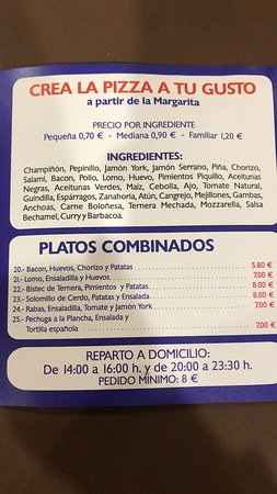 Pizzería Come y Calla: Pizzas por ingredientes y platos combinados