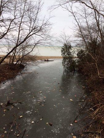 South Milwaukee, WI: View of water way to Lake Michigan