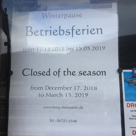 Trechtingshausen, Niemcy: Beware, on the website it say's there open but the information is incorrect. The Castle is closed intill the 15th of March 2019  We learned this the hard way...