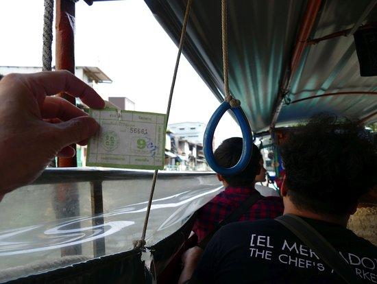 乗船後、車掌に行き先を告げて料金を払い、チケットをもらう。リングを引くと横のビニール覆いが上がり、水の浸入を防げる。