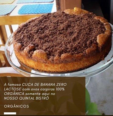 A famosa CUCA DE BANANA ZERO LACTOSE com ovos caipiras 100% ORGÂNICA somente aqui no NOSSO QUINTAL BISTRÔ
