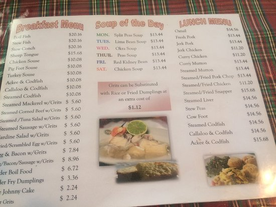 Beverley's Kitchen: Page 2 of the Menu as of January 2019