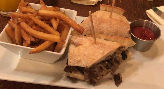 Maplewood, NJ: Steak sandwich and fries